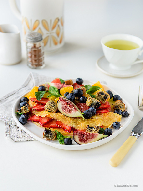 Fruit Omelette Blueberry Muffin Croutons 1 - Fruit Omelette & Blueberry Muffin Croutons