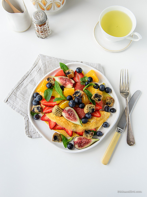 Fruit Omelette Blueberry Muffin Croutons - Fruit Omelette & Blueberry Muffin Croutons