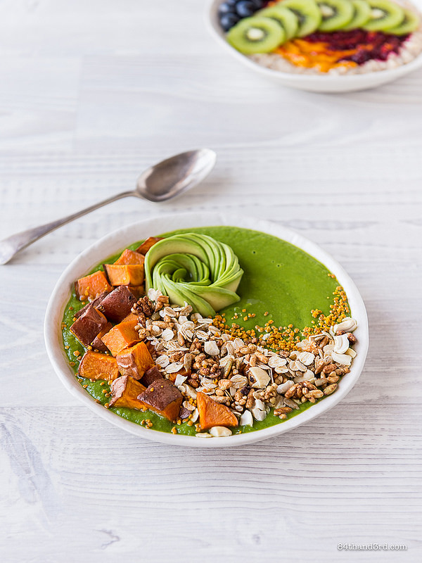 Green Smoothie Sweet Potato Granola Bowl 1 - Green Smoothie, Sweet Potato & Granola Bowl