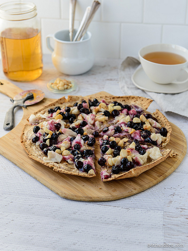 Nutty Blueberry Breakfast Pizza - Nutty Blueberry Breakfast Pizza