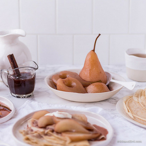 Spelt Crepes Mulled Wine Poached Pears 300x300 - Spelt Crepes, Mulled Wine Poached Pears & The Decadent Pantry