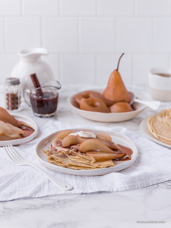 Spelt Crepes Mulled Wine Poached Pears The Decadent Pantry2 - Spelt Crepes, Mulled Wine Poached Pears & The Decadent Pantry