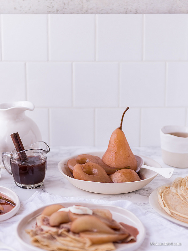 Spelt Crepes Mulled Wine Poached Pears The Decadent Pantry3 - Spelt Crepes, Mulled Wine Poached Pears & The Decadent Pantry
